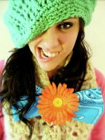 Crocheted hat and Blue Bow by Valardaughter
