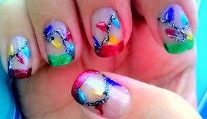 Christmas Lights French Tip Nails by wolfgirl4716