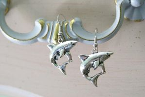 Killer Shark Earrings by MonsterBrandCrafts