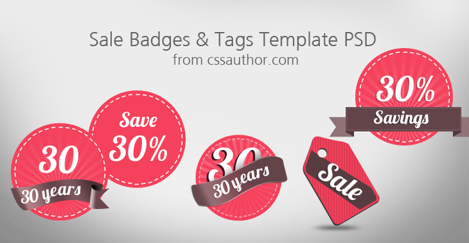 Free Sale Badges and Tags Template PSD by cssauthor