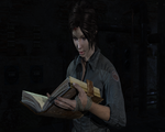 Tomb Raider 2013 (Screenshot)-Lara #8 Reading Book by Eddy7454
