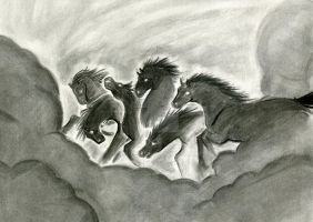 Black Horses in Black Clouds by ms-pen