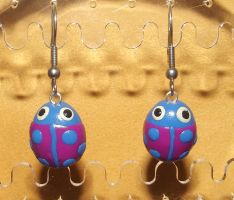 Pink ladybird earrings by MeticulousBlue