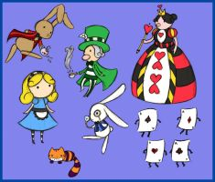 Alice in Wonderland characters by XxUshixX