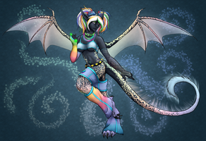 Prismatic Dragon Raver by ClemiKinkajou