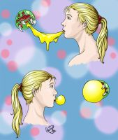 Eating X and Blowing Bubbles by Eyes5