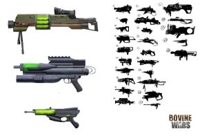 Bovine Wars Weapon Concepts by hapa93