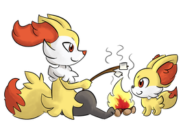 Fennekin And Braixen by LeniProduction