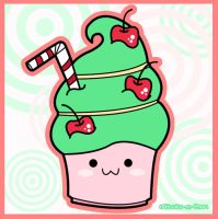 Kawaii Green Cupcake by Mitsuko-m-Chan