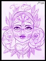 Day of the dead girl tattoo design by thirteen7s