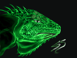 Green Iguana Drawing by artegs