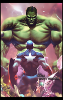 Hulk vs Capt. America by I-DOOM-I
