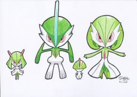 Ralts + evolutions Chibi's by Gallade007