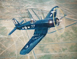 Corsair Over Mojave by DouglasCastleman