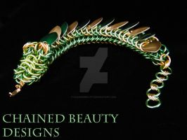 Green and Gold Dragon Bracelet by ChainedBeauty