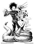 #INKtober 8: Edward Scissorhands and Medusa by AxelMedellin