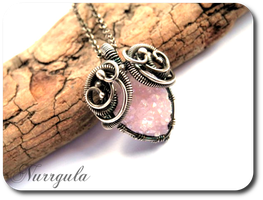 Pastel pink Quartz druzy and silver necklace by nurrgula