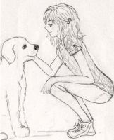 girl and dog by CheshireNene