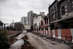 Road Construction In Downtown Kuala Lumpur by TomFawls