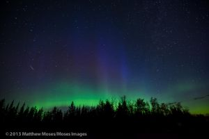 Aurora, big dipper, and iridium flare by MosesImages