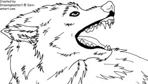 Feirce Wolf Lineart by DrawingMaster1