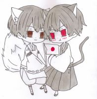 APH: Japan!Fox And 2p(Black)Japan!Kitty by thebigblackdevil5