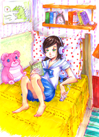 Reading girl by Lahara