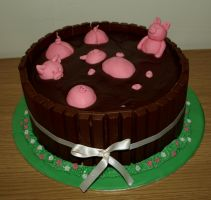 Swimming Pigs Kit Kat Cake by sparks1992