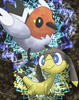 Fletchling and Helioptile by Macuarrorro