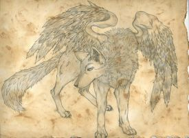 tea stained winged wolf by reenie4790