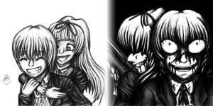 The Twins- Black and White by BloodCri