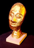 Gold Leaf Male Head Sculpture by mertonparrish