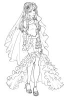Wedding Dress- Lineart by Miha-Hime