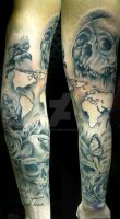 skulls and roses sleeve in progress by thirteen7s