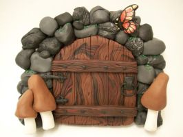 'Monarch' and Mushrooms Door by FlyingFrogCreations