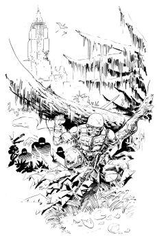 Dino Apocalypse inks by Wes-StClaire