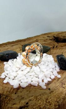 Orange and Silver Ring by Vor4