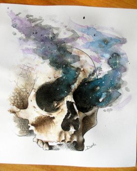 Watercolor skull by PoisonIky
