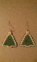 Christmas Tree Cross Stitch Earrings by moonprincessluna