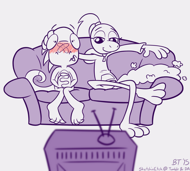 Wreck and Lily Enjoy a Film - Commission by SketchinEtch