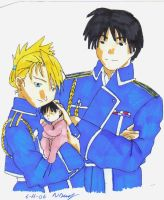 Roy, Riza and their baby by FullMetalWing