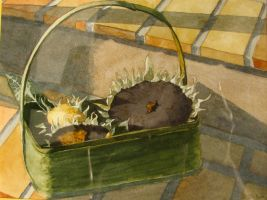 Sunflowers in a basket by ddyjur