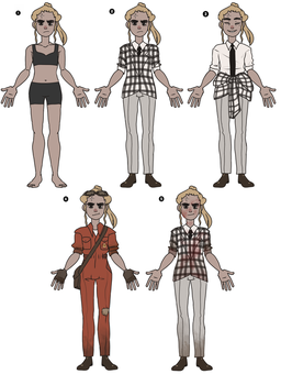 Fallout New Vegas OC-- Tuesday -- Outfit Sheet by DoveTalon