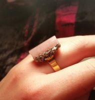 Pink Tourmaline & Pyrite Ring by nibirujewellery