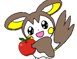 Shiny Emolga and her apple by luisbonilla