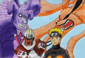 Killer Bee+Eight T. VS Naruto Uzumaki+Nine T. by Pademo