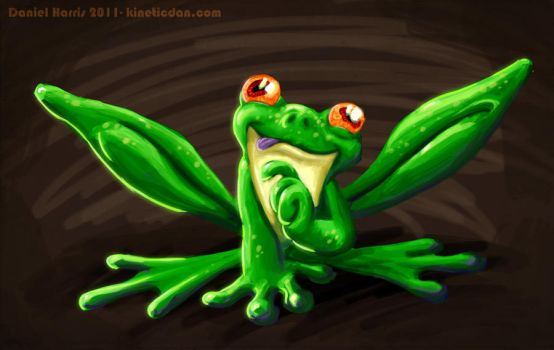 Wibby the Green tree frog by kineticdan