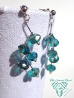 Beaded Earrings, Staggered Zig Zag Drop, Teal by TheSortedBead