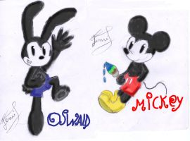 mickeyandoswald painted sketch by Ferni21