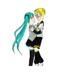 Miku x Len by Windmountain